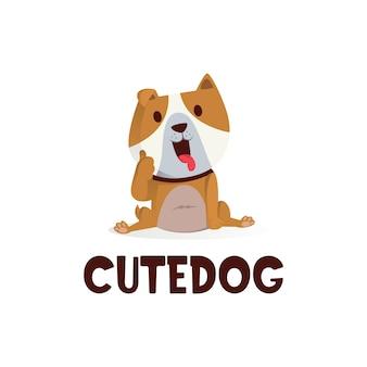 かわいい犬のマスコットキャラクターのロゴアイコンイラストを親指