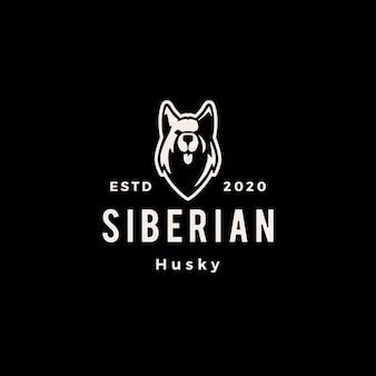 シベリアンハスキー犬のヒップスターヴィンテージロゴアイコンイラスト