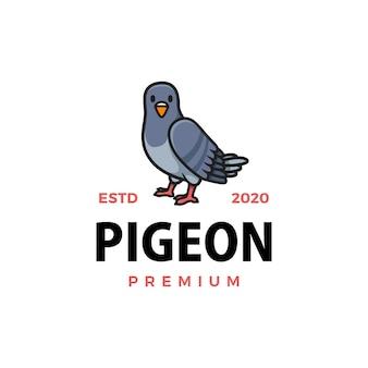 Симпатичный голубь мультфильм логотип значок иллюстрации
