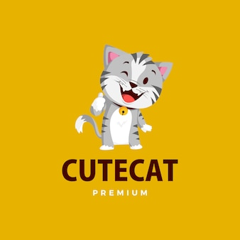猫のマスコットキャラクターのロゴアイコンイラストを親指