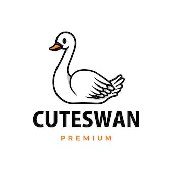 Симпатичный лебедь мультфильм логотип значок иллюстрации