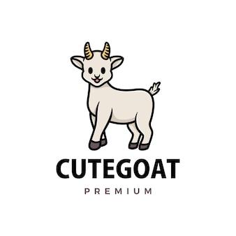 Симпатичная коза мультфильм логотип значок иллюстрации