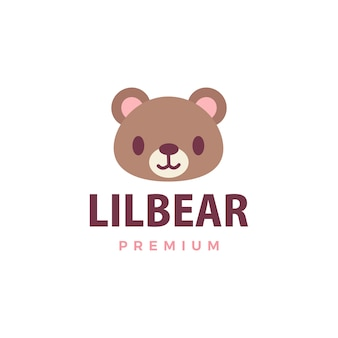かわいいクマのロゴアイコンイラスト