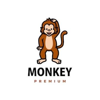 Симпатичные обезьяны мультфильм логотип значок иллюстрации