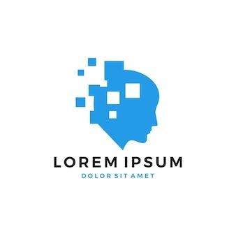 Цифровой человеческий логотип значок скачать