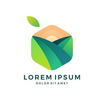 農業緑色の箱自然のキューブの果物の葉のロゴ