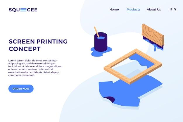スクリーン印刷アイソメトリックベクトル要素イラストランディングページウェブサイトバナーカバー概念