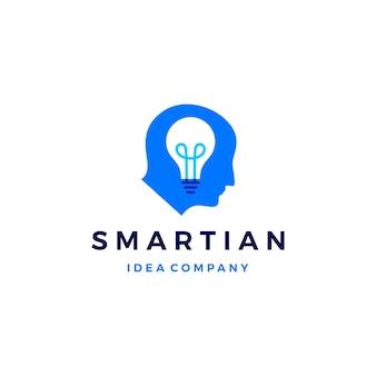 スマート人間の頭は電球のアイデアのロゴのアイコンを考える