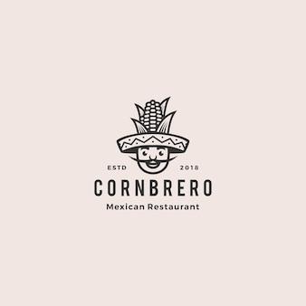 ソンブレロ帽子トウモロコシメキシコ料理のロゴ