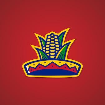 ソンブレロの帽子トウモロコシのメキシコのレストランのロゴのステッカーのエンブレム