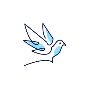 Голубь логотип вектор значок линия схема монолин иллюстрация