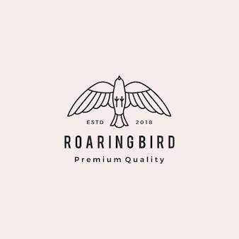 轟音の鳥のロゴレトロなヒップスターヴィンテージのアイコンイラスト