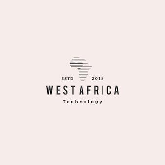 アフリカのテクノロジーデジタルロゴヒップスターヴィンテージレトロアイコン