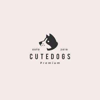 かわいい犬のペットの子犬のロゴ