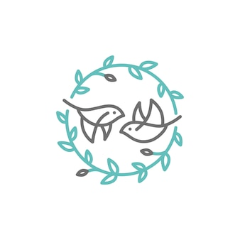 鳥の葉の紋章のロゴ