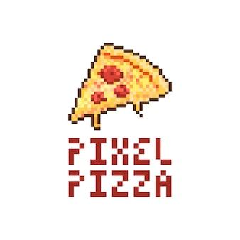 Пиксель пицца логотип векторная иллюстрация
