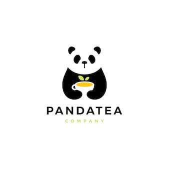 パンダティーカップのロゴのベクトルのアイコンの図