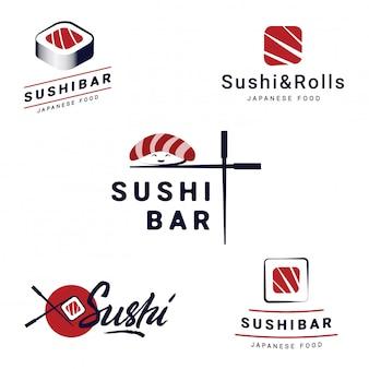 寿司バーのロゴのテンプレートセット。ベクトルオブジェクトと和食レストランのアイコン