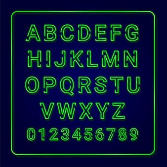 アルファベットグリーンネオンランプ。大文字。