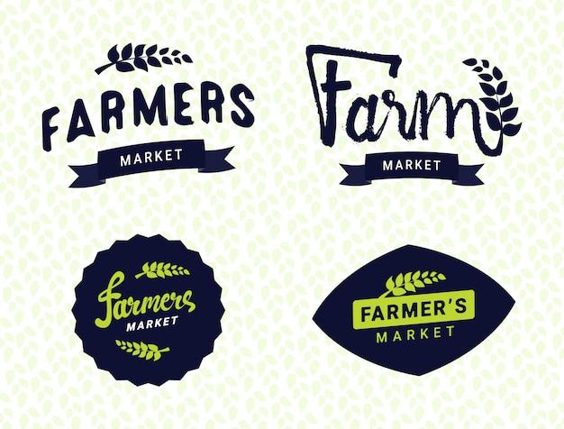 Фермерский рынок шаблоны логотипов набор векторных объектов