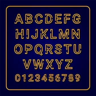 ネオンのアルファベット:黄色、オレンジ、緑、青。カラフルなフォントのセットです。大文字。