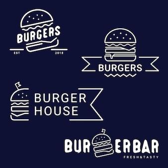 ハンバーガー、ファーストフードのロゴやアイコン、エンブレム。メニューデザインのレストランやカフェのラベル。