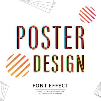 バナーデザインのタイポグラフィフォントの大文字。テキスト効果