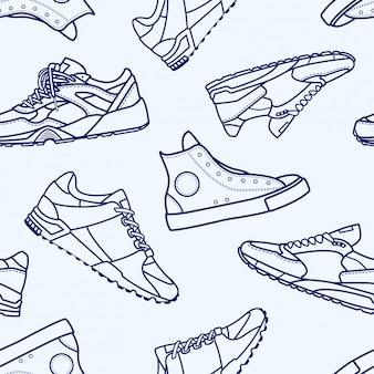 スニーカーの靴フラットラインストロークアイコンとのシームレスなパターンピクトグラムシンボル図