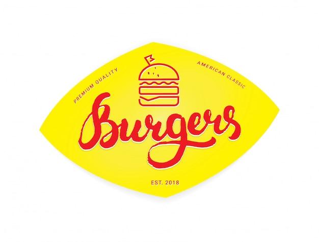 ハンバーガーのロゴやアイコン、エンブレム。黄色の背景に書道レタリングとアウトラインデザイン
