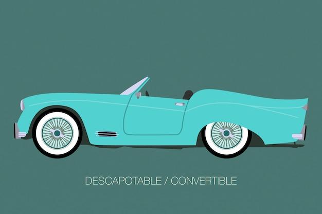 Синий классический автомобиль, вид сбоку автомобиля, автомобиля, автомашины