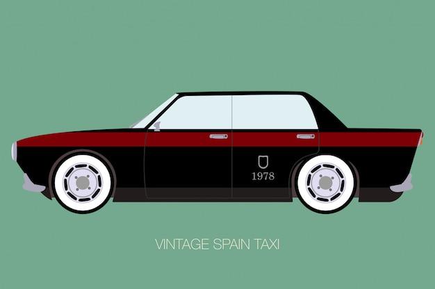 Винтаж испания такси, вид сбоку, вектор