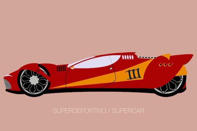 Гоночный суперкар, вид сбоку, плоский дизайн