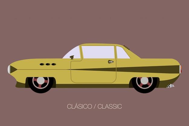 サイドビュー古いアメリカのクラシックカー、サイドビュー、フラットなデザインスタイル