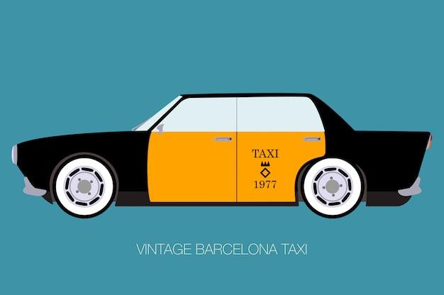 Винтажное барселонское такси, вид сбоку, плоский дизайн