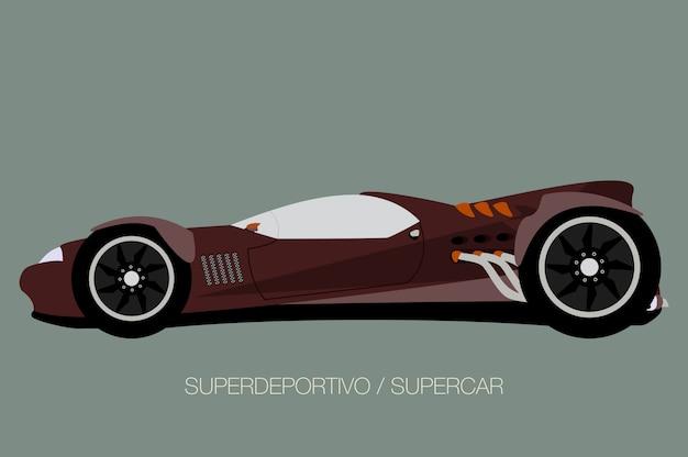 Спортивный гоночный автомобиль, вид сбоку