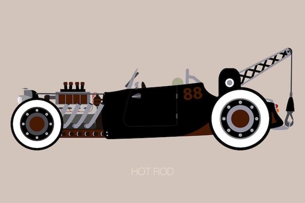 ホットロッドレッカー車、車、自動車、自動車の側面図