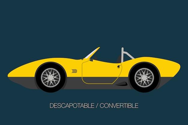 古典的なコンバーチブル車の図