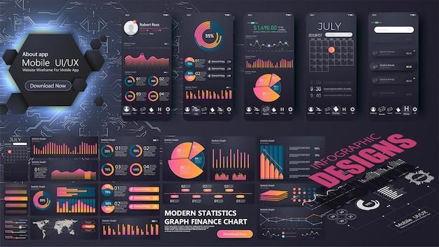 ウェブサイトやモバイルアプリケーションのための現代のインフォグラフィックテンプレート。情報グラフィック