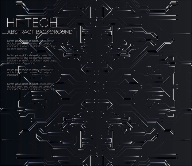 ベクトル抽象的な未来的な回路基板、図高コンピューター技術暗い黒い色の背景。ハイテクデジタル技術の概念