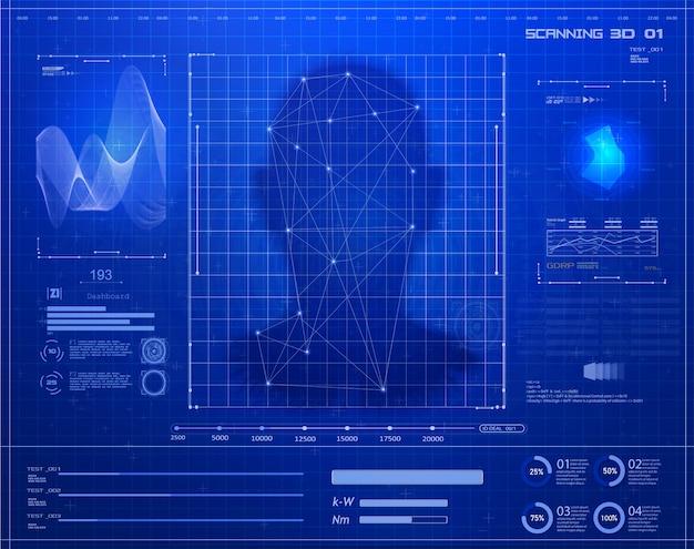 人工知能。バイオメトリック識別または顔