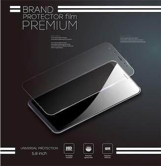 ガラススクリーンプロテクターまたはガラスカバー。携帯電話の透明な強化ガラスシールドのイラスト。