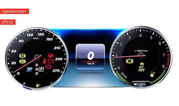 スピードメータークロムフレームの有無にかかわらず円形の黒いゲージ。