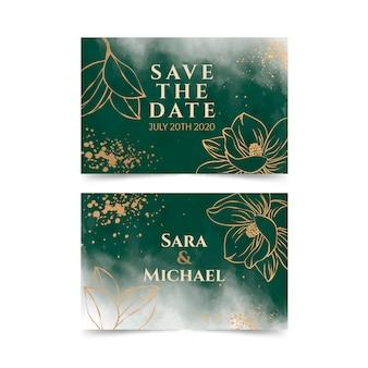 Золотая магнолия свадебная открытка