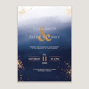 Акварельное свадебное приглашение с золотыми вкраплениями