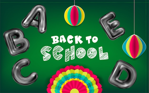学校へ戻る緑のポスター
