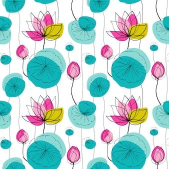 蓮のシームレスパターン