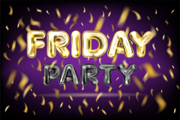 Пятничная вечеринка фиолетовый баннер