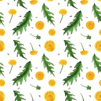 Цветочный бесшовный узор с диким одуванчиком