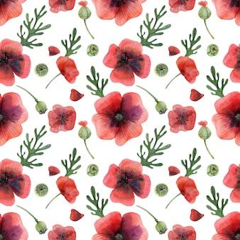 草原のケシの花と蕾のシームレスパターン