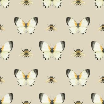 Луговая бабочка бесшовный фон